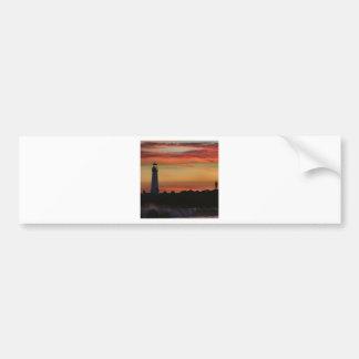 日没のサンタクルスの灯台 バンパーステッカー
