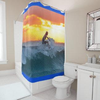 日没のサーファー シャワーカーテン