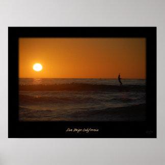 日没のサーファー ポスター