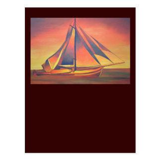 日没のシエナ土の帆 ポストカード