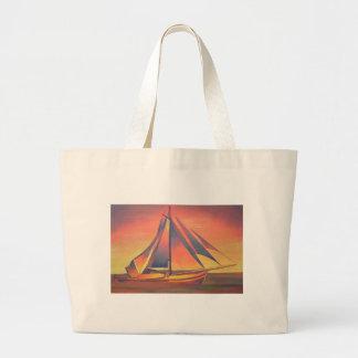 日没のシエナ土の帆 ラージトートバッグ