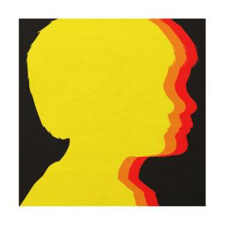 日没のトリオのシルエット ウッドウォールアート