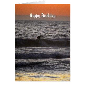 日没のハッピーバースデーのサーファー カード