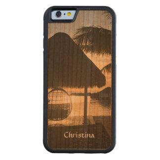 日没のハンドメイド熱帯ビーチのハンモックのヤシの木 CarvedチェリーiPhone 6バンパーケース