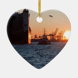 日没のハンブルク港 セラミックオーナメント
