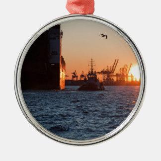 日没のハンブルク港 メタルオーナメント