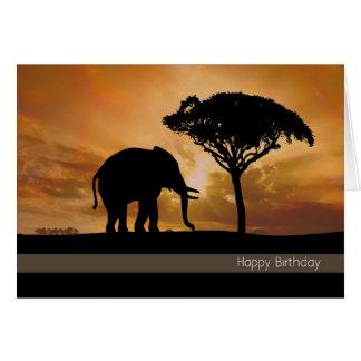日没のバースデー・カードを持つシルエット象 カード