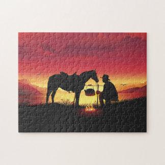 日没のパズルのカウボーイそして馬 ジグソーパズル