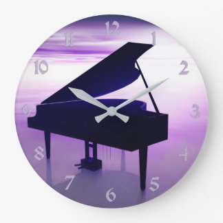 日没のビーチのグランドピアノ音楽柱時計 ラージ壁時計