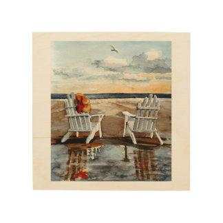日没のビーチのDeckchairs ウッドウォールアート