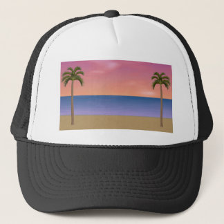 日没のビーチ場面: キャップ
