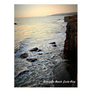 日没のビーチ場面、コスタリカ ポストカード