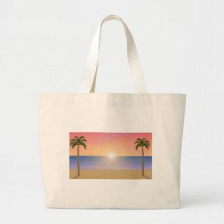 日没のビーチ場面: ラージトートバッグ