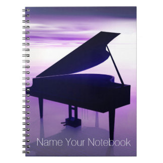 日没のビーチ音楽ノートのグランドピアノ ノートブック