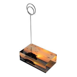日没のビーチ テーブルカードホルダー