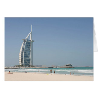 日没のビーチ、ドバイからのBurjのAlのアラビア人 カード