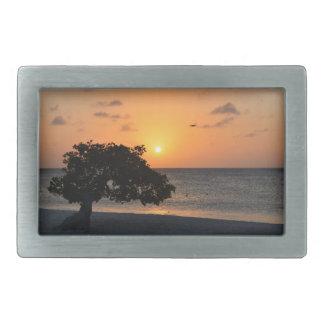 日没のビーチ 長方形ベルトバックル