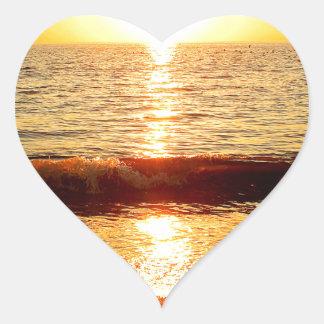 日没のビーチ、Cape May NJ ハートシール
