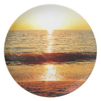日没のビーチ、Cape May NJ プレート