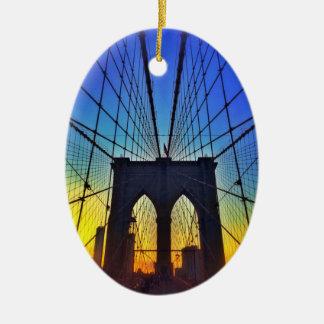 日没のブルックリン橋 セラミックオーナメント