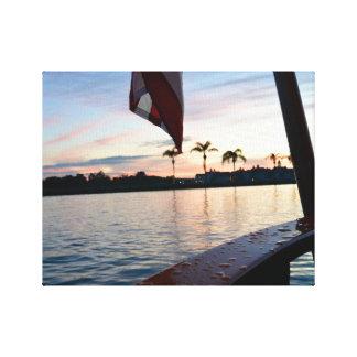 日没のボートの乗車 キャンバスプリント