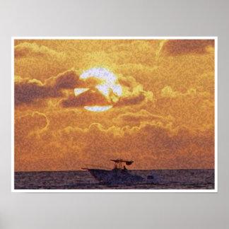 日没のボートの乗車 ポスター