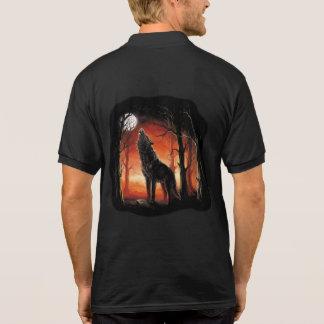 日没のポロシャツの遠ぼえのオオカミ ポロシャツ