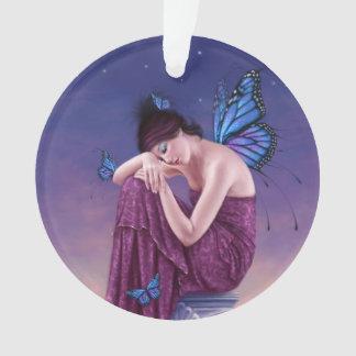 日没のマダラチョウの妖精の円形のオーナメント オーナメント