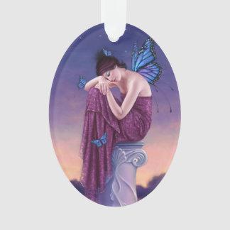 日没のマダラチョウの妖精の楕円形のオーナメント オーナメント