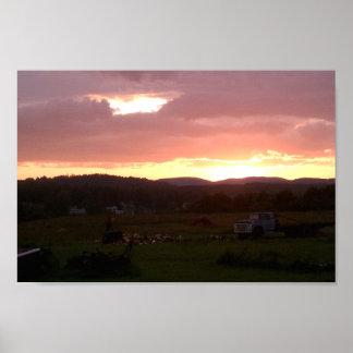日没のメインの北の農地 ポスター