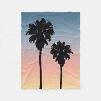 日没のヤシの木のフリースブランケット フリースブランケット