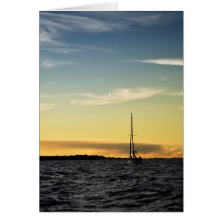 日没のヨットとの海景 カード