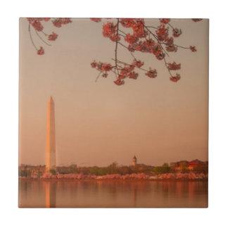 日没のワシントン記念塔の桜 タイル