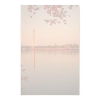 日没のワシントン記念塔の桜 便箋