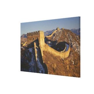 日没の下の万里の長城、中国の景色 キャンバスプリント