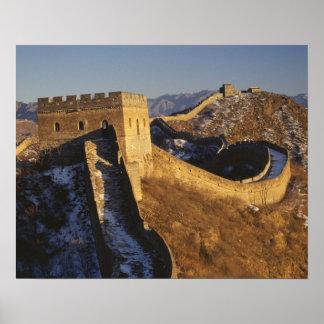 日没の下の万里の長城、中国の景色 ポスター
