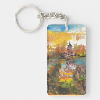 日没の中国のな芸術Keychainの威厳があるな塔 キーホルダー