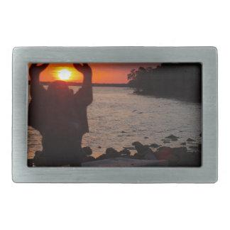 日没の仏 長方形ベルトバックル