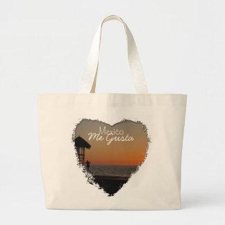 日没の休息の点; メキシコの記念品 ラージトートバッグ
