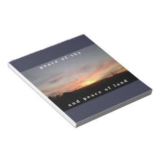 日没の写真及び平和印刷のメモ帳 ノートパッド