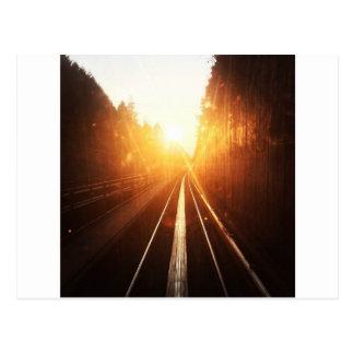 日没の列車トラック ポストカード
