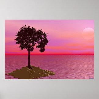 日没の単独木 ポスター