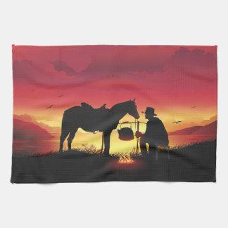 日没の台所タオルのカウボーイそして馬 キッチンタオル