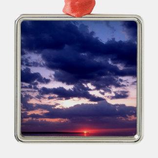 日没の壮大な島ミシガン州 メタルオーナメント