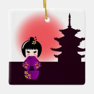 日没の女の子の間の寺院の日本のなkokeshiの人形 セラミックオーナメント