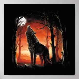 日没の小型ポスターの遠ぼえのオオカミ ポスター