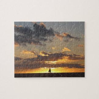 日没の帆ボート ジグソーパズル