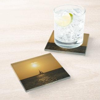 日没の帆 ガラスコースター