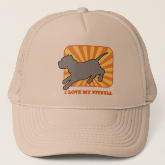 日没の帽子のピットブルのシルエット キャップ