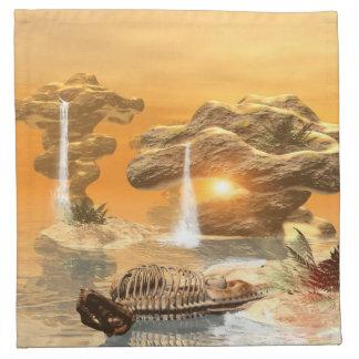日没の幻想の世界のTレックスの骨組 ナプキンクロス